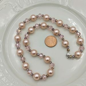Vintage Peach Crystal Sterling Silver Necklace